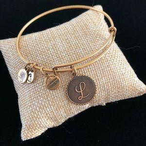 Alex and Ani L Cursive Initial Monogram Bracelet